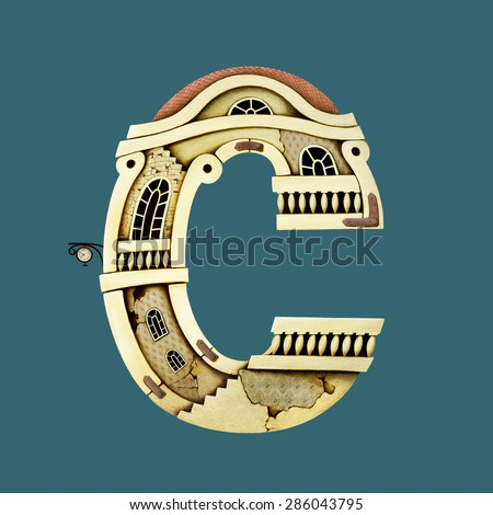 Isolated object as building letter C. Computer graphics. - stock photo