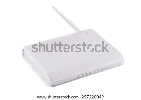 isolated object on white -  Wireless router - stock photo