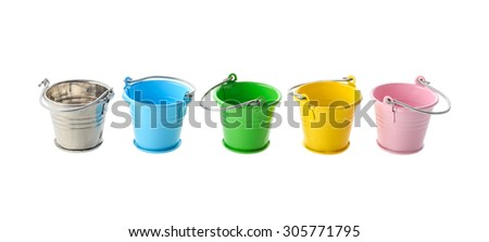 Isolated objects: colorful buckets, arranged in a row, isolated on white background - stock photo