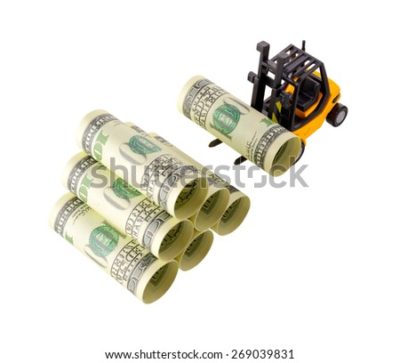 Isolated objects: financial concept, yellow forklift stacking up one-hundred dollar bills, rolled as tubes, isolated on white background.