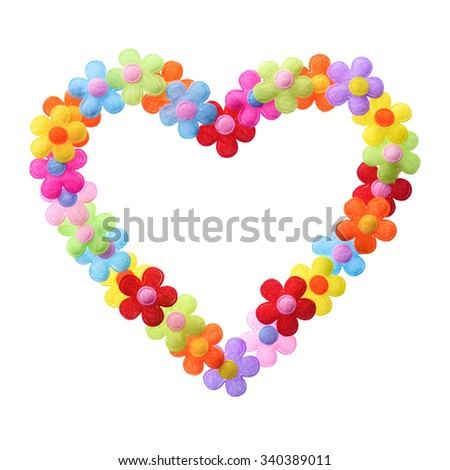 Isolated objects: heart shape contour made of flowers, on white background - stock photo