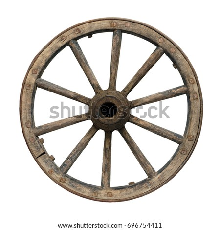 Isolated objects: one very old wooden waggon wheel on white background