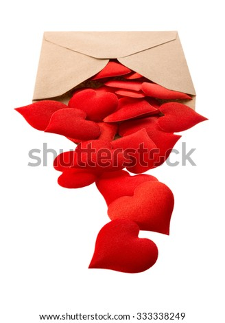 Isolated objects: opened mail envelope full of red hearts, on white background - stock photo