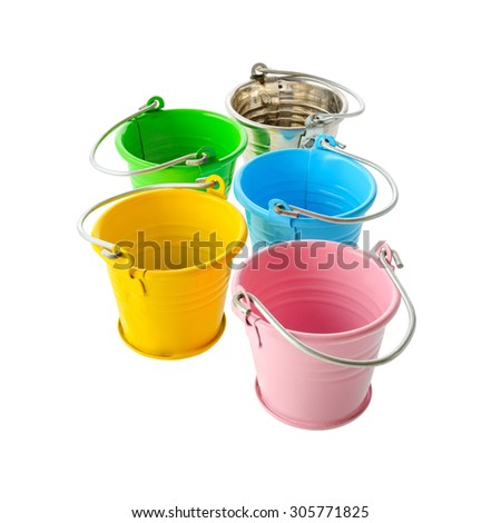 Isolated objects: perspective group of colorful buckets, isolated on white background - stock photo