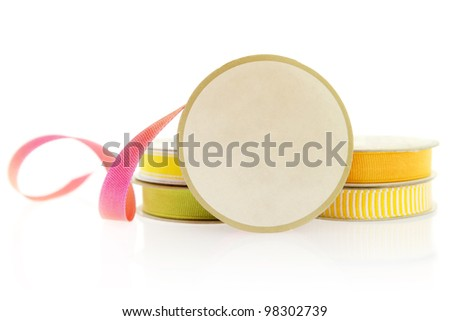 Isolated objects: ribbons for craft project, isolated on white background. Space for copy on the spool. - stock photo