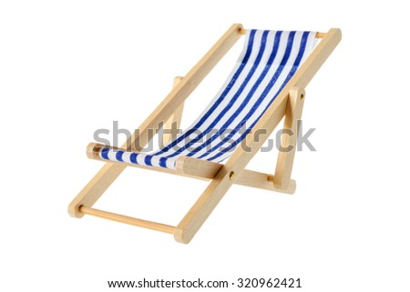 Isolated objects: wooden blue striped deck chair, isolated on white background - stock photo