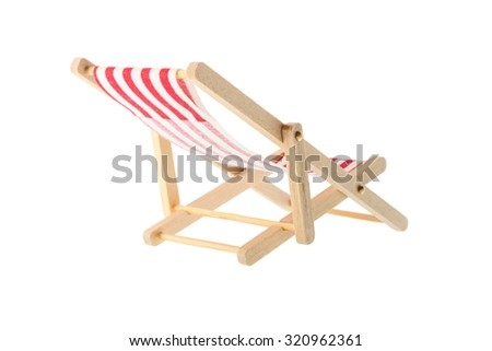 Isolated objects: wooden red striped deck chair, isolated on white background - stock photo