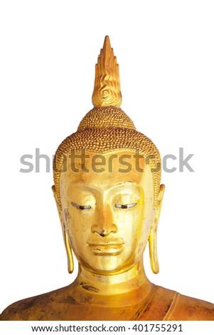 Isolated of buddha face on white background - stock photo