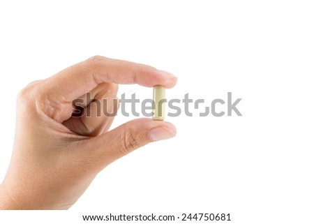 Isolated of Hand holding a pill capsule. - stock photo