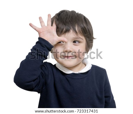 Isolated of Little boy showing fingers on number five, Portrait of school boy show one hand up with a smiling face, Cute little years boy raises his hand on white background, kid development