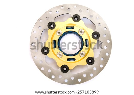 Isolated of new disc brake for motorcycle on white background - stock photo