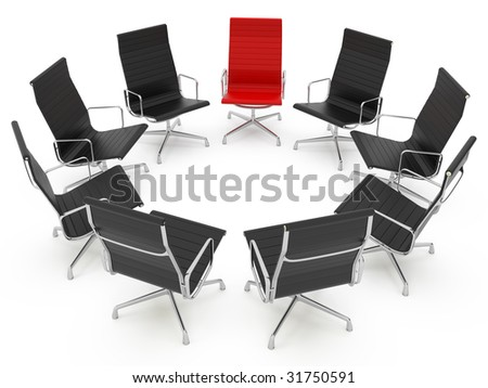 isolated office chair concept on white background
