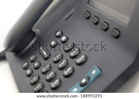 isolated office phone in white background - stock photo