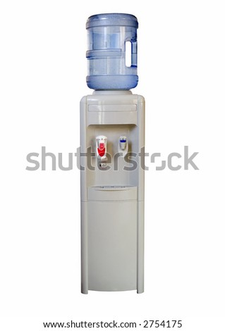Isolated office water cooler on white, containing both hot and cold water outlets. Large container of natural spring water. - stock photo