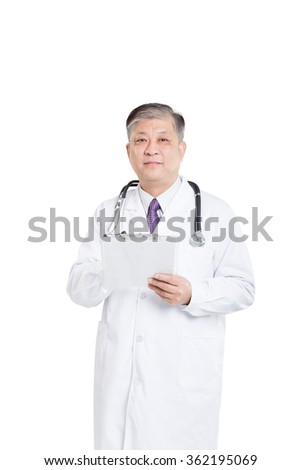 Isolated old Asian man doctor in white uniform writing on board
