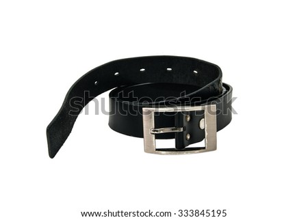 isolated old black leather belts - stock photo