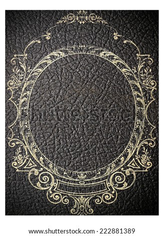 isolated old black leather book cover - stock photo