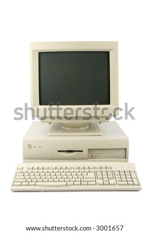 isolated old desktop computer - stock photo