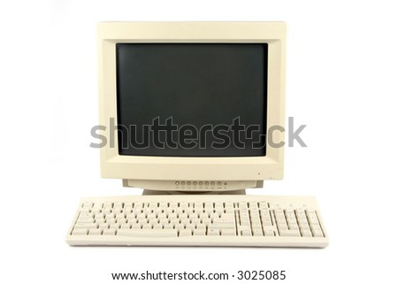 isolated old desktop computer