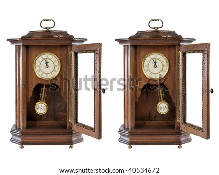 isolated old-fashion wooden clock with pendulum on white - stock photo
