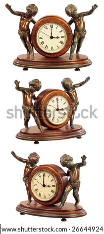 isolated old-fashioned clock on white - stock photo