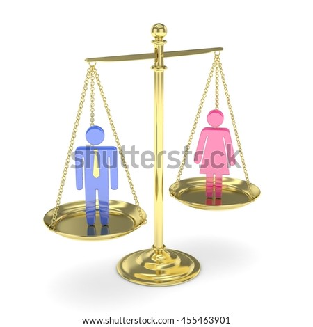 Isolated old fashioned golden pan scale with man and woman on white background. Gender inequality. Equality of sexes. Law issues. Colorful model. 3D rendering. - stock photo