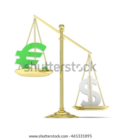 Isolated old fashioned pan scale with dollar and euro on white background. American and european currency. Dollar is heavier. Silver usd, green euro. 3D rendering.