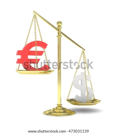 Isolated old fashioned pan scale with dollar and euro on white background. American and european currency. Dollar is heavier. Silver usd, red euro. 3D rendering.