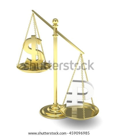 Isolated old fashioned pan scale with dollar and ruble on white background. American and russian currency. Ruble is heavier. Silver rouble, golden usd. 3D rendering.