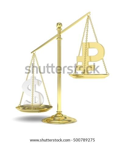 Isolated old fashioned pan scale with dollar and ruble on white background. American and russian currency. Dollar is heavier. Silver usd, golden rouble. 3D rendering.