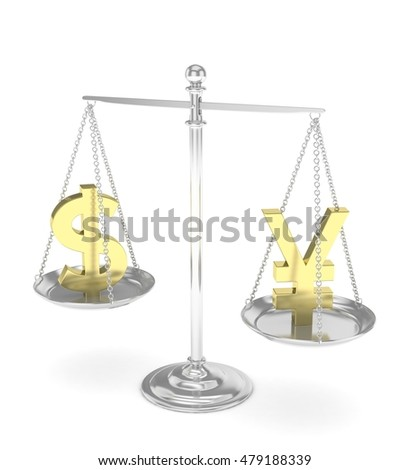 Isolated old fashioned pan scale with dollar and yuan,yen on white background. American and chinese and japanese currency. Currency equality. 3D rendering.