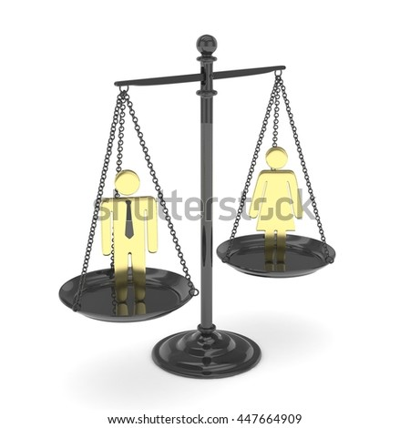 Isolated old fashioned pan scale with golden man and woman on white background. Gender inequality. Equality of sexes. Law issues. Silver model. 3D rendering. - stock photo
