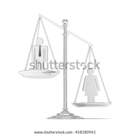 Isolated old fashioned pan scale with man and woman on white background. Gender inequality. Equality of sexes. Law issues. Silver model. 3D rendering. - stock photo