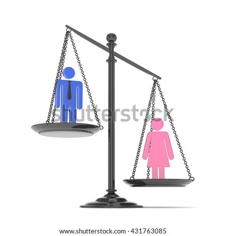Isolated old fashioned pan scale with man and woman on white background. Gender inequality. Female is heavier. Law issues. Colorful model. 3D rendering.