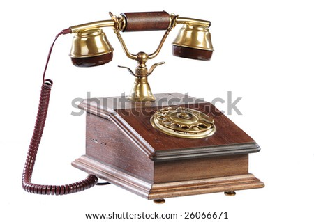 isolated old-fashioned phone on white background