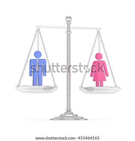 Isolated old fashioned silver pan scale with colorful man and woman on white background. Gender inequality. Equality of sexes. Law issues. Silver model. 3D rendering. - stock photo