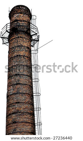 Isolated old industrial chimney over white - stock photo