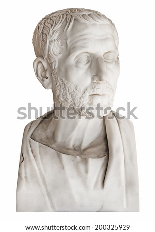 Isolated old marble bust of the greek philosopher Posidonius over white background. - stock photo