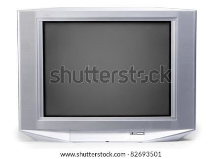isolated old TV on white background - stock photo