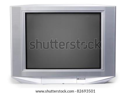 isolated old TV on white background - stock photo