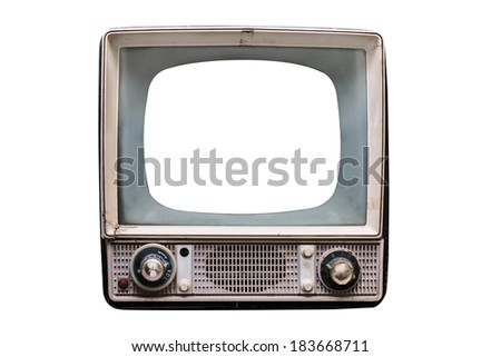 isolated old vintage television with empty screen - stock photo