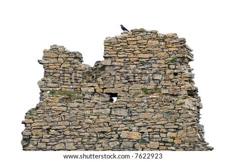isolated old wall - stock photo