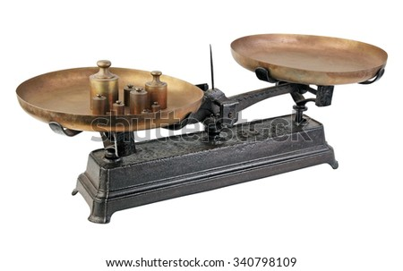 Isolated old weight against a white background. - stock photo