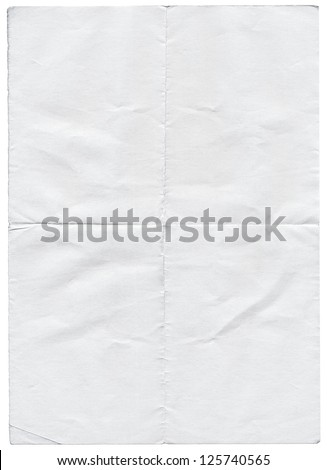 Isolated old white folded torn paper. - stock photo