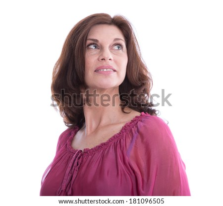 Isolated older woman looking in her future. - stock photo