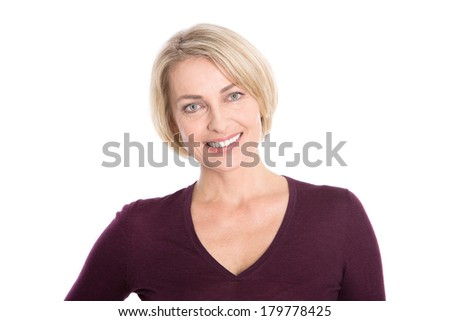Isolated older woman with blond hair - relaxt and smiling. - stock photo