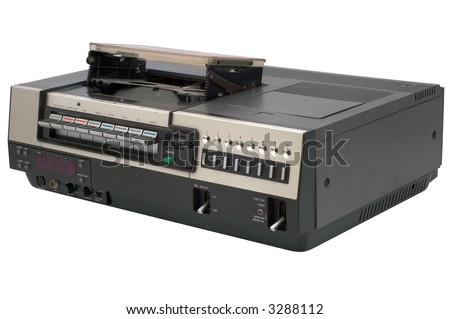 isolated oldschool videorecorder with path - stock photo