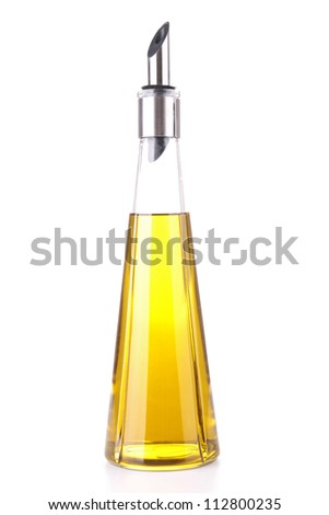 isolated olive oil bottle - stock photo