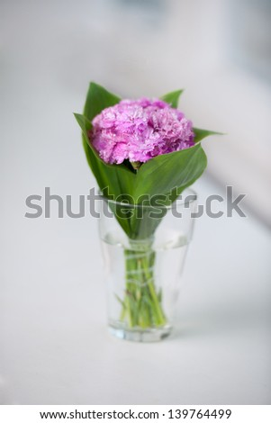 Isolated on a white background artists bouquet of fresh pink - stock photo