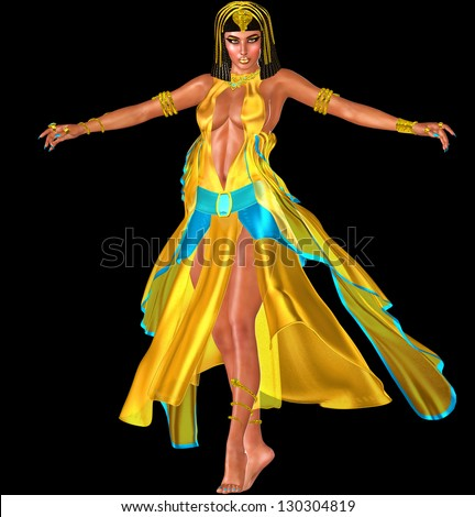Isolated on black. The Dance Of The Temptress, In soft silks of turquoise and gold she dazzles as she dances ever so closely to the hearts of the people in attendance. - stock photo